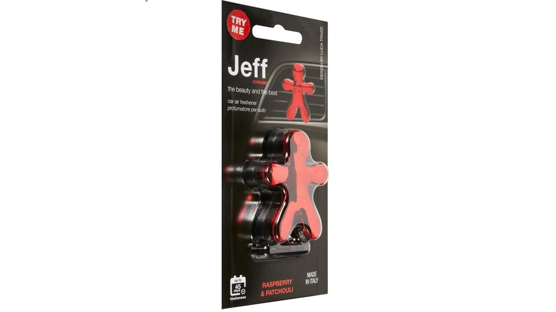 JEFF osviežovač vzduchu červený chrome -  Raspberry & Patchouli