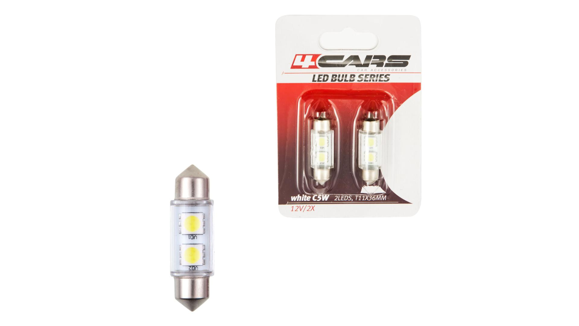 4CARS LED ŽIAROVKA 2LED 12V FESTOON SMD T11X31MM,36MM
