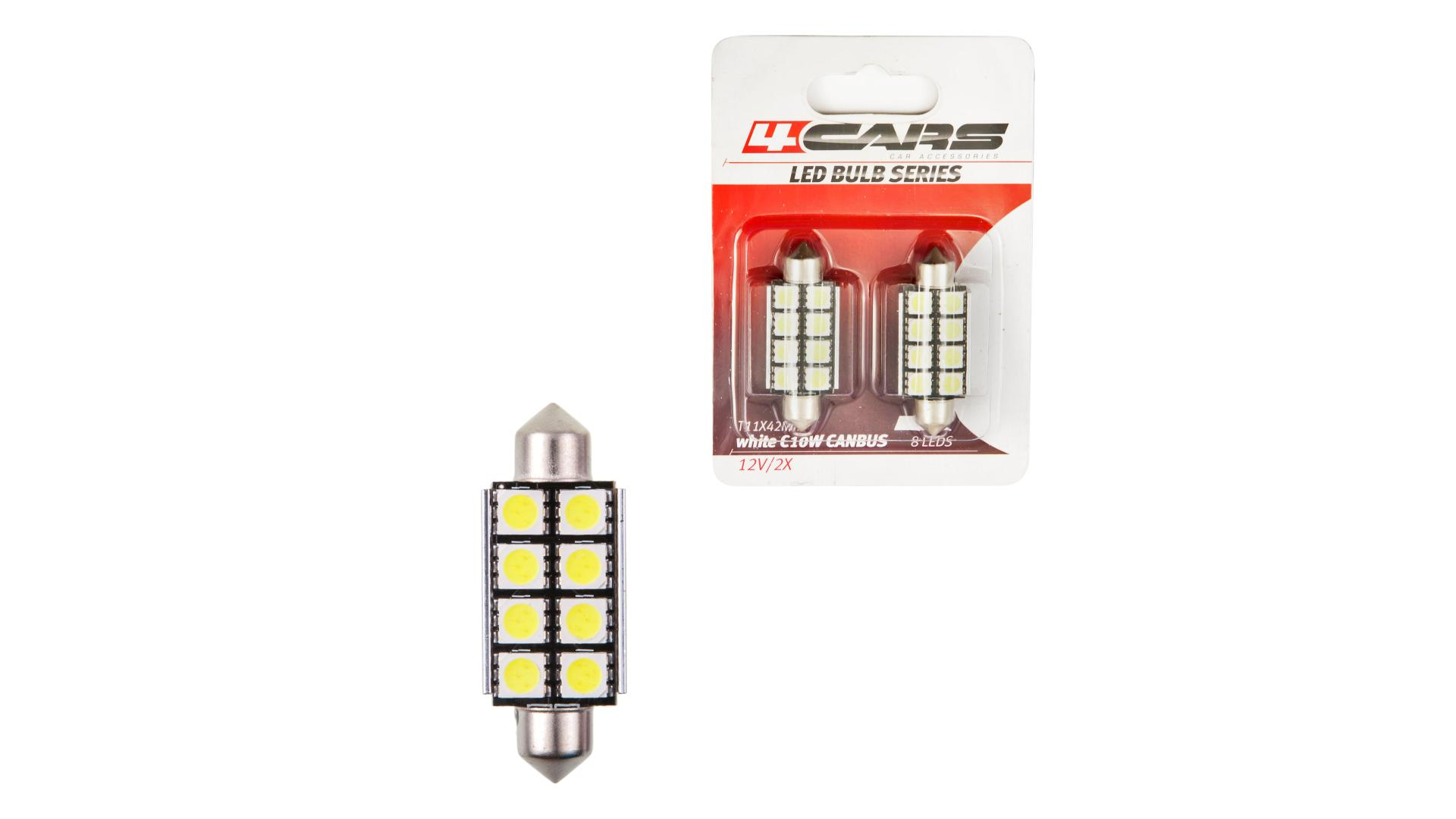 4CARS LED ŽIAROVKA 8LED 12V FESTOON CANBUS 5050SMD T11X42MM