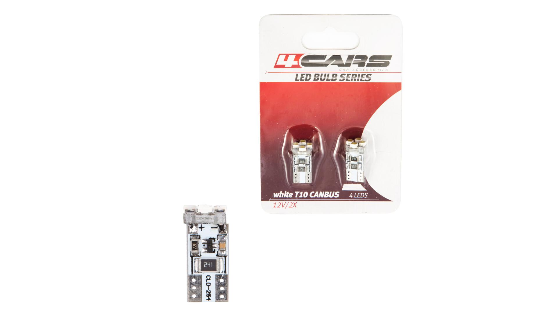 4CARS LED ŽIAROVKA 4LED 12V CANBUS 3528SMD T10