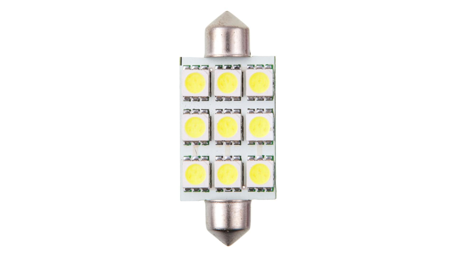 4CARS LED ŽIAROVKA 9LED 12V FESTOON 5050SMD T11X44MM