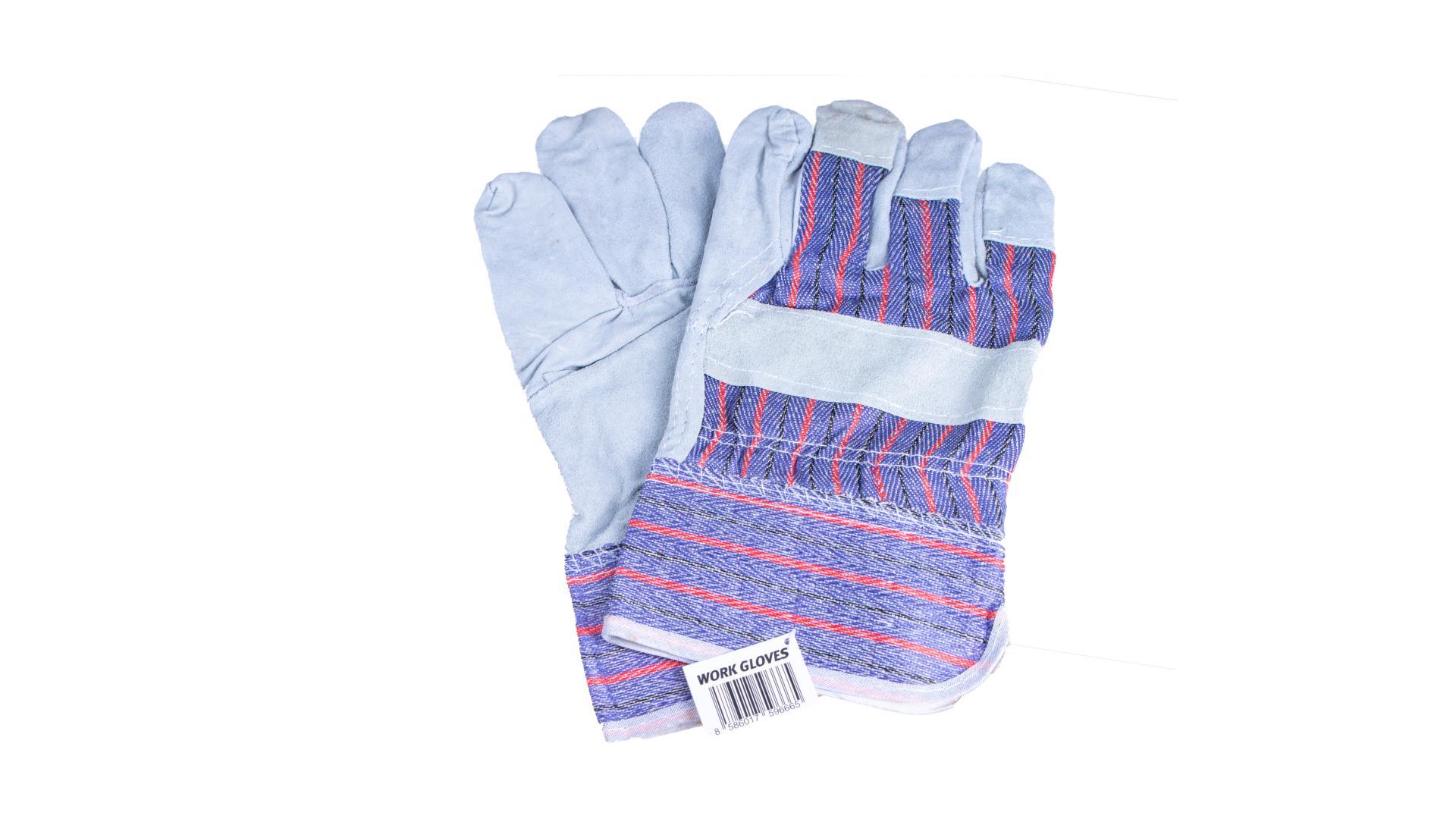 4CARS Pracovné rukavice - kožené sivé