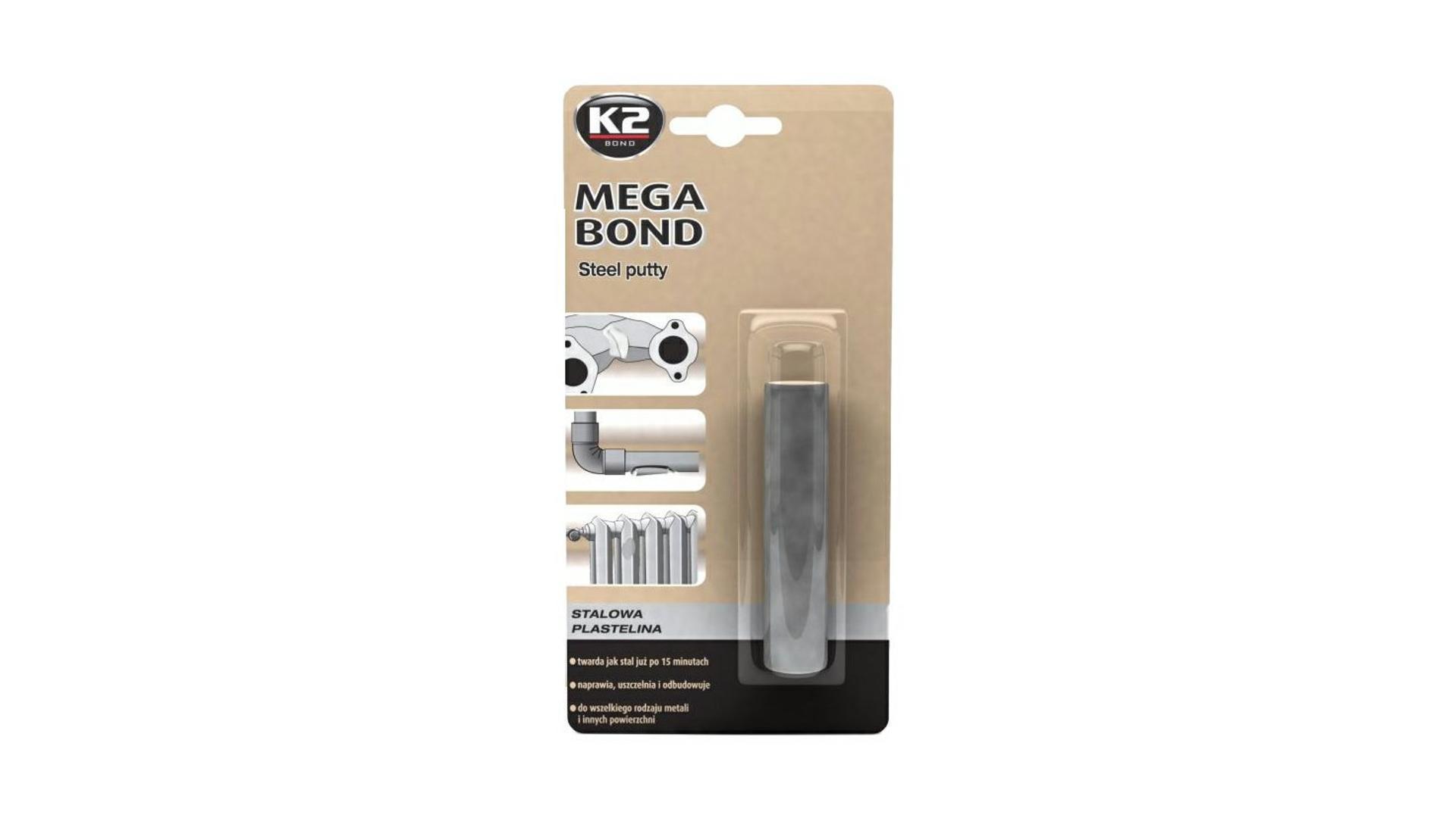 K2 MEGA BOND 60 g - oceľová plastelína na opravu a obnovu dielov