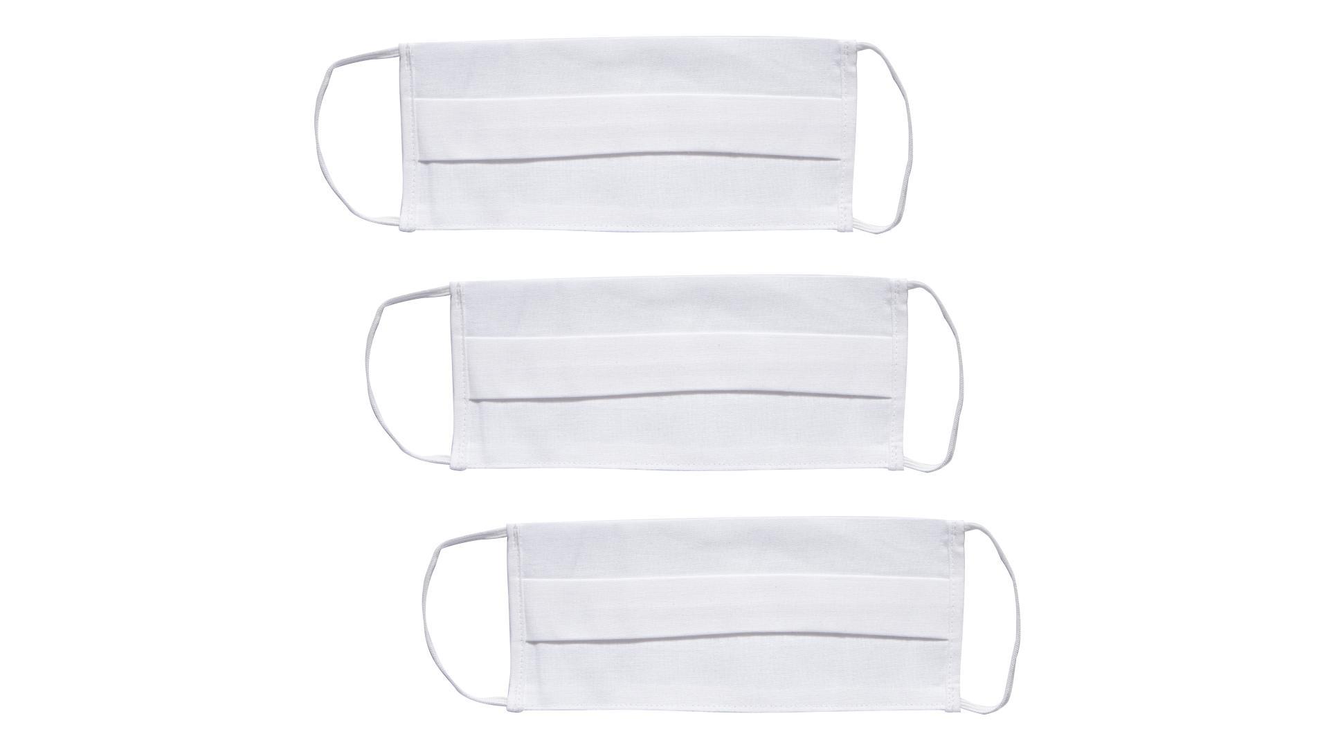 4CARS Dvojvrstvové ochranné bavlnené rúško biele  s gumičkou 3ks - väčšie