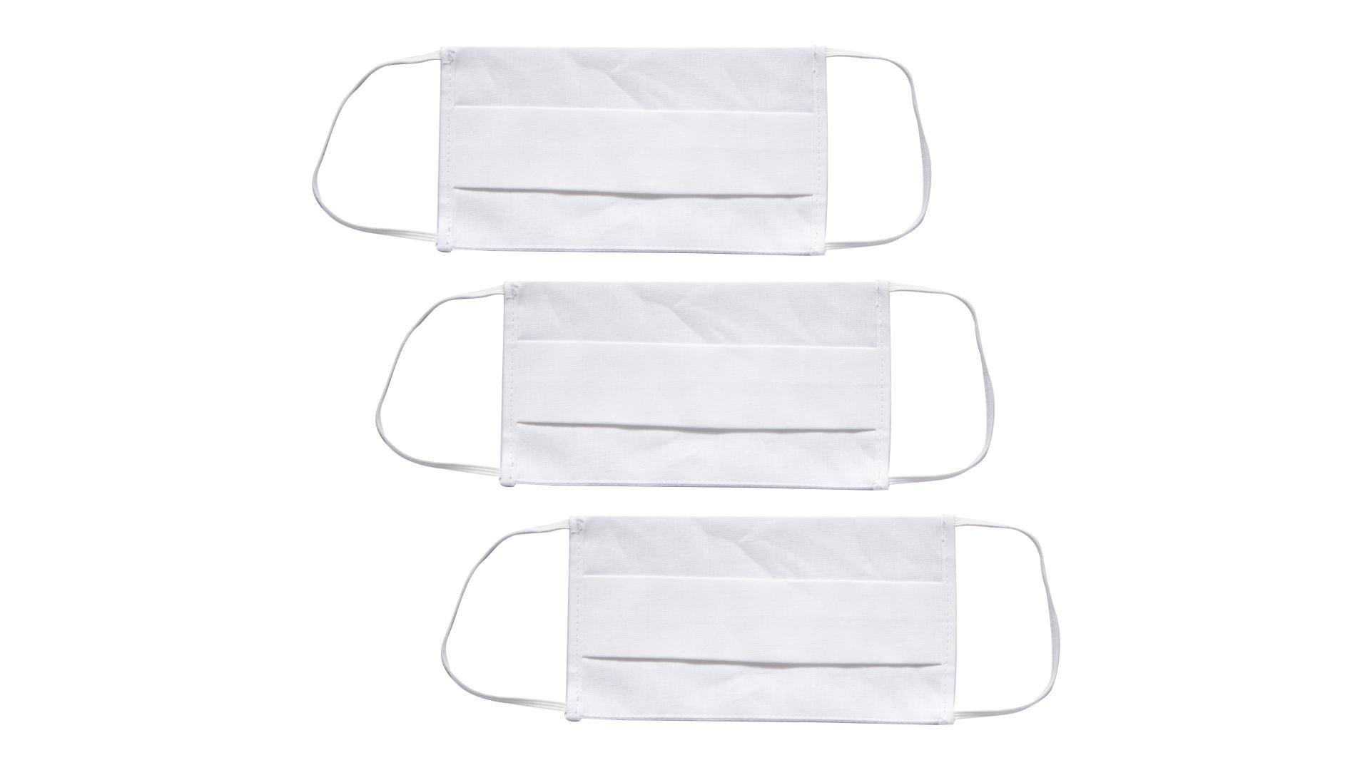 4CARS Dvojvrstvové ochranné bavlnené rúško biele  s gumičkou 3ks - menšie