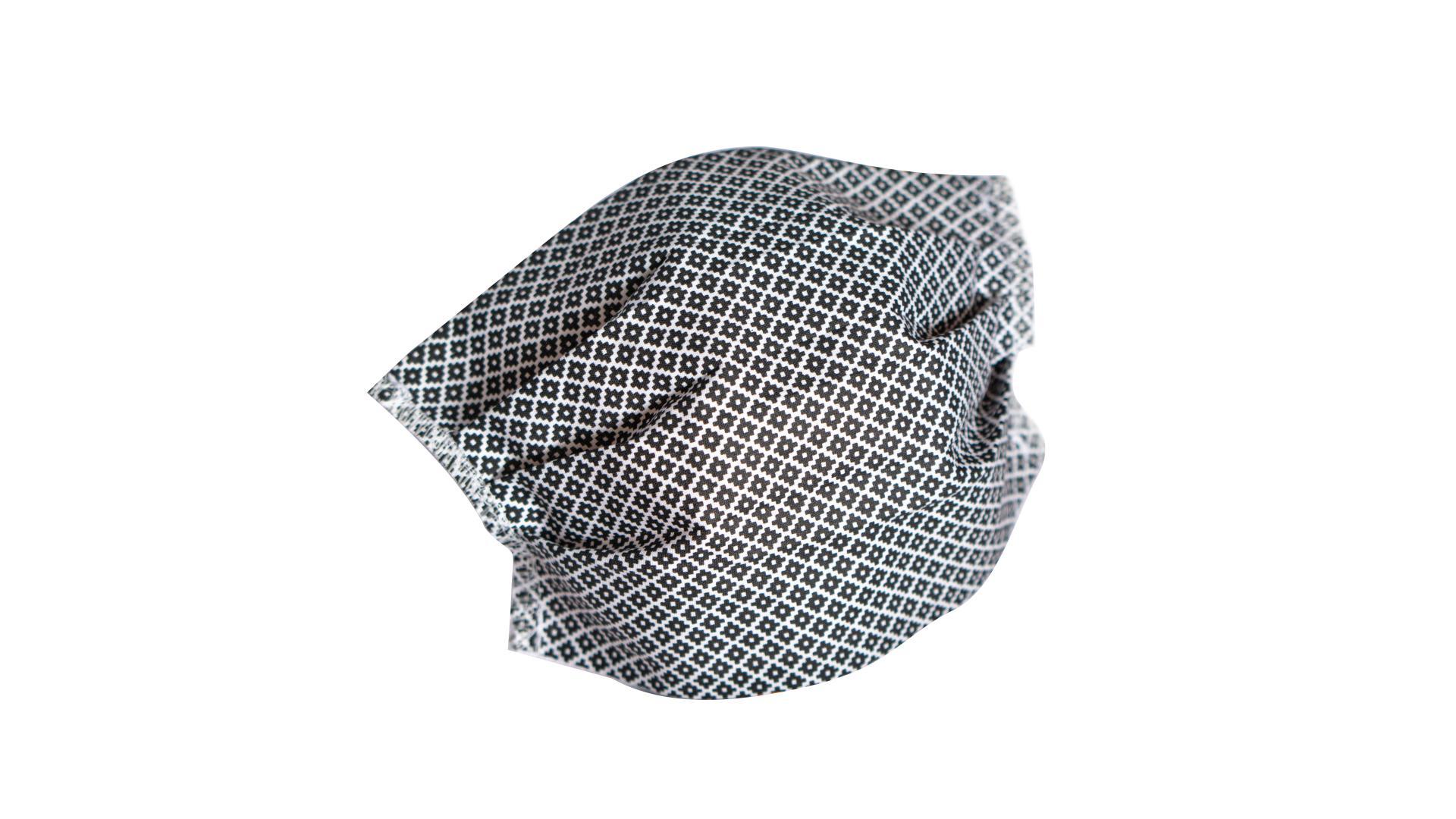 4CARS Dvojvrstvové ochranné bavlnené rúško čierne s gumičkou 1ks - väčšie