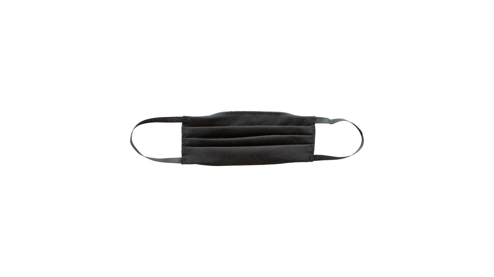 4CARS Dvojvrstvové bavlnené rúško čierne bez vzoru s gumičkou 1ks
