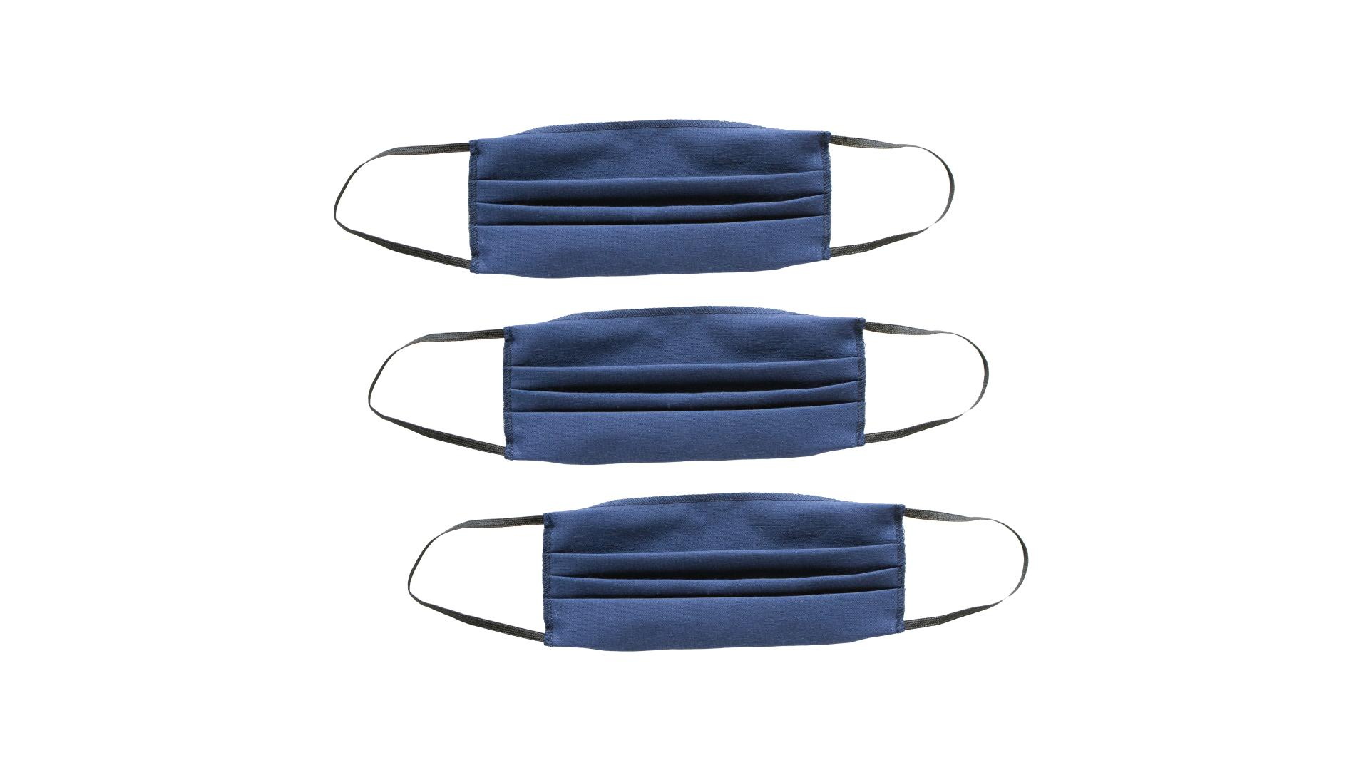 4CARS Dvojvrstvové bavlnené rúško modré bez vzoru s gumičkou 3ks