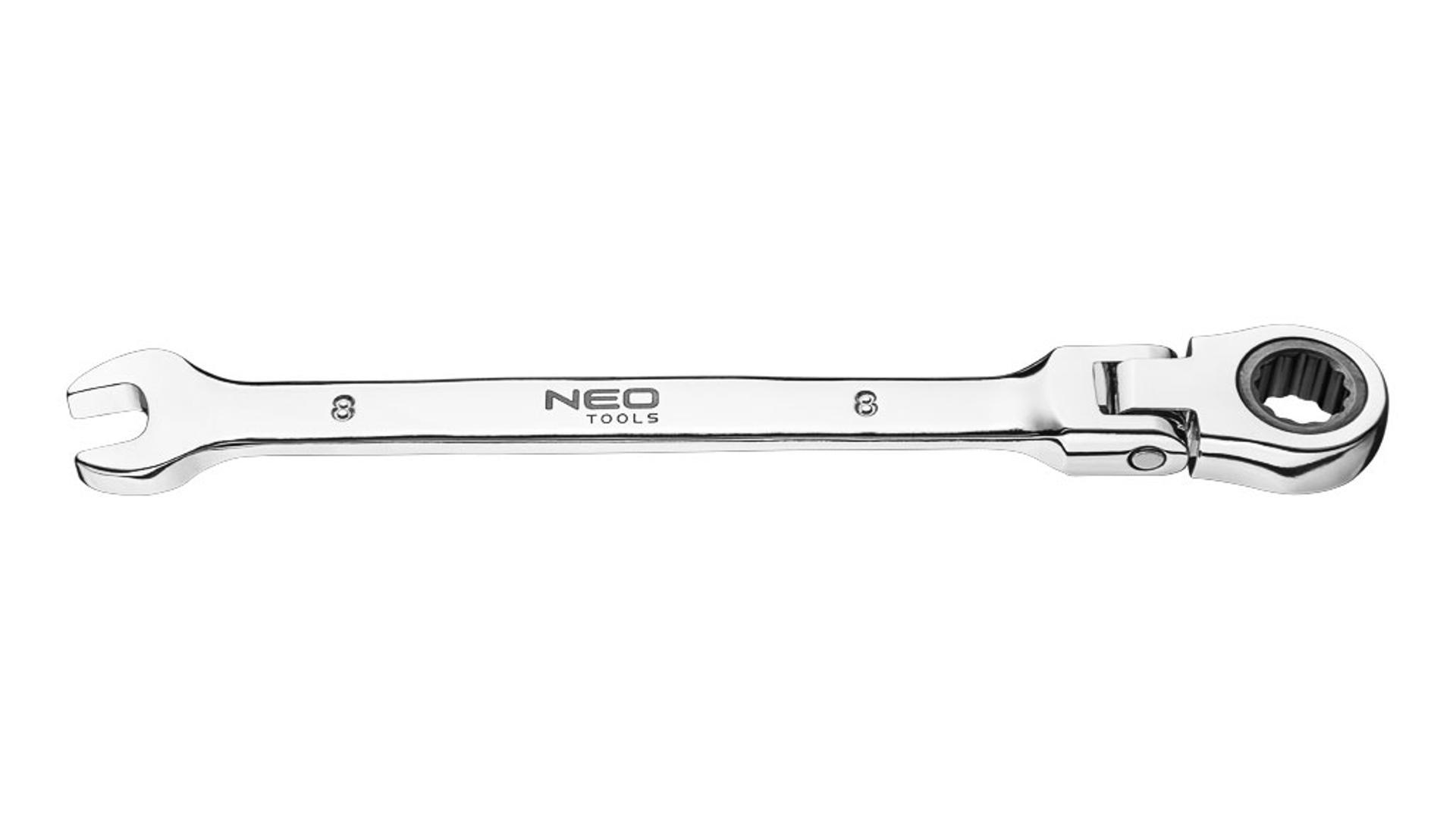 NEO Kombinovaný kľúč - plochý-očkový s kĺbom a račňou 10 x 160mm