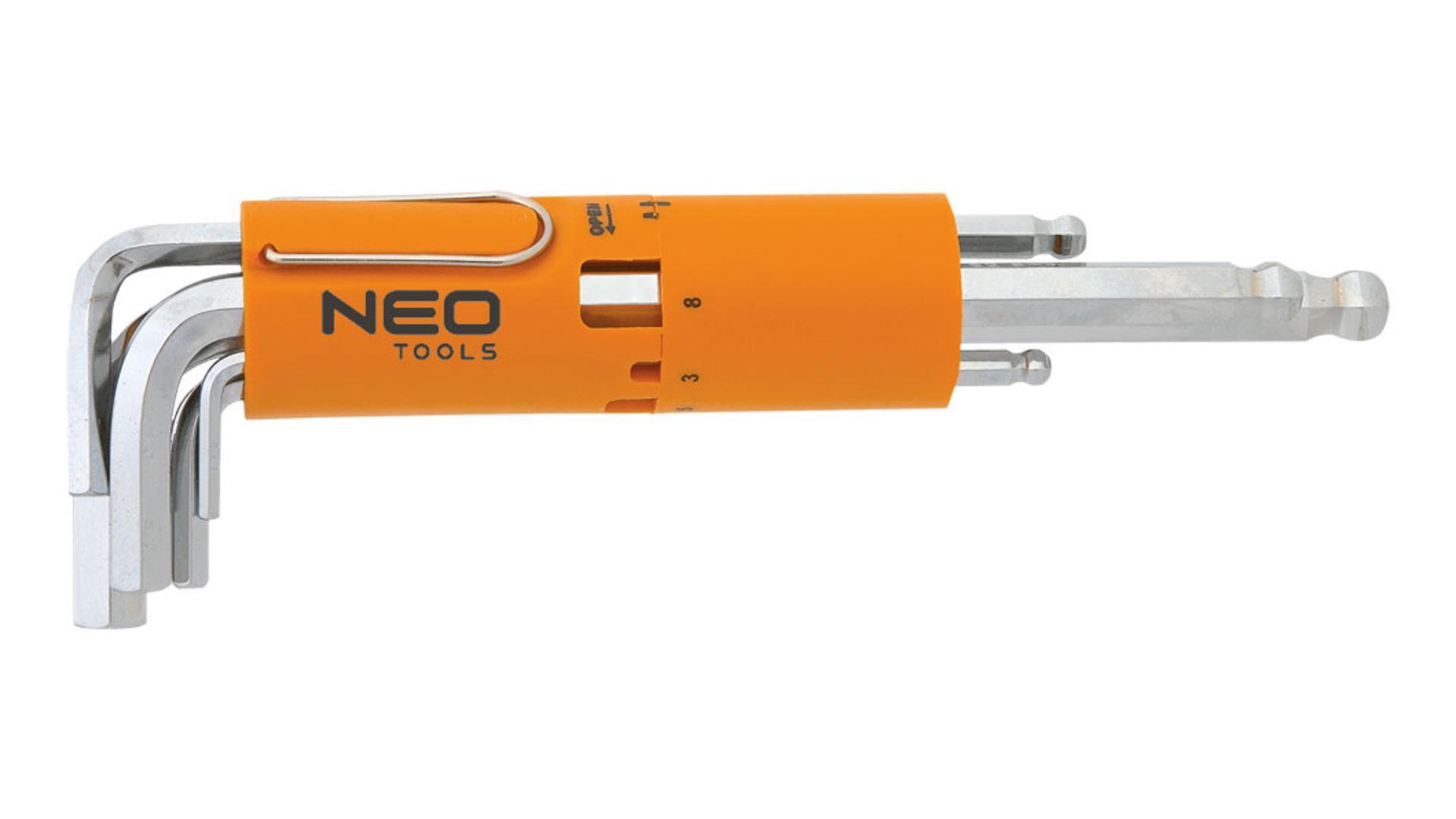 NEO Šesťhranné kľúče, dlhé, sférické 2,5 - 10 mm, súprava 8 ks, súprava predĺ. Imbus kľúčovs guľkou