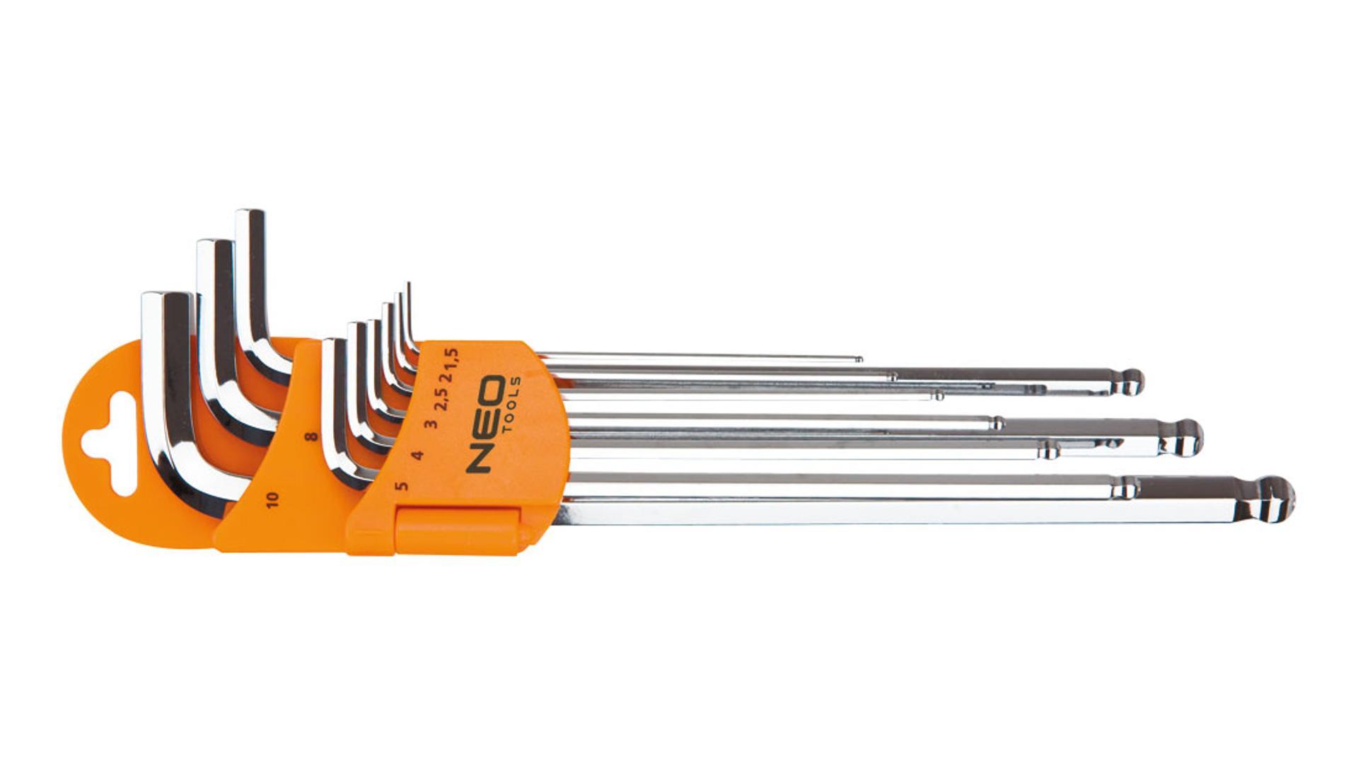 NEO Šesťhranné kľúče s guľovým koncom, s magnetom, súprava 9 ks
