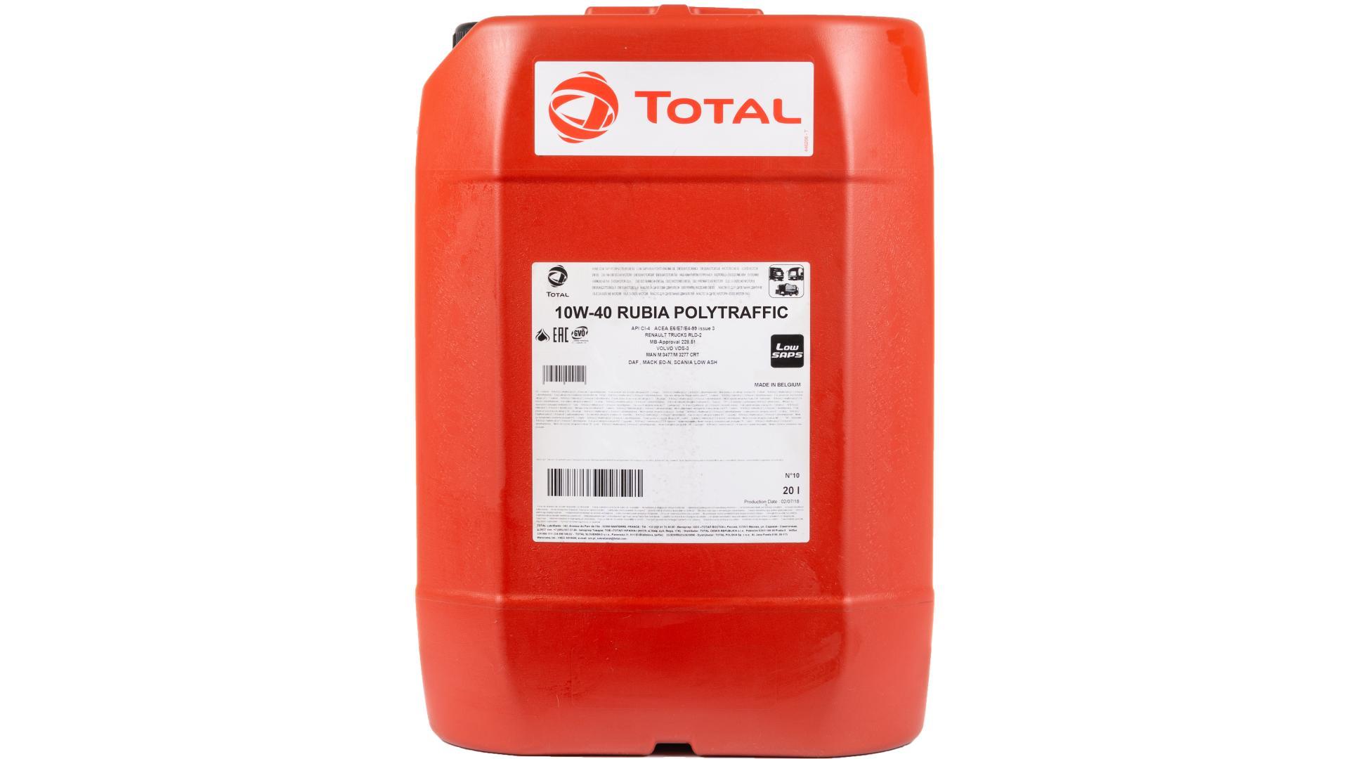 Total 10w-40 Rubia Polytraffic 20L (149091)
