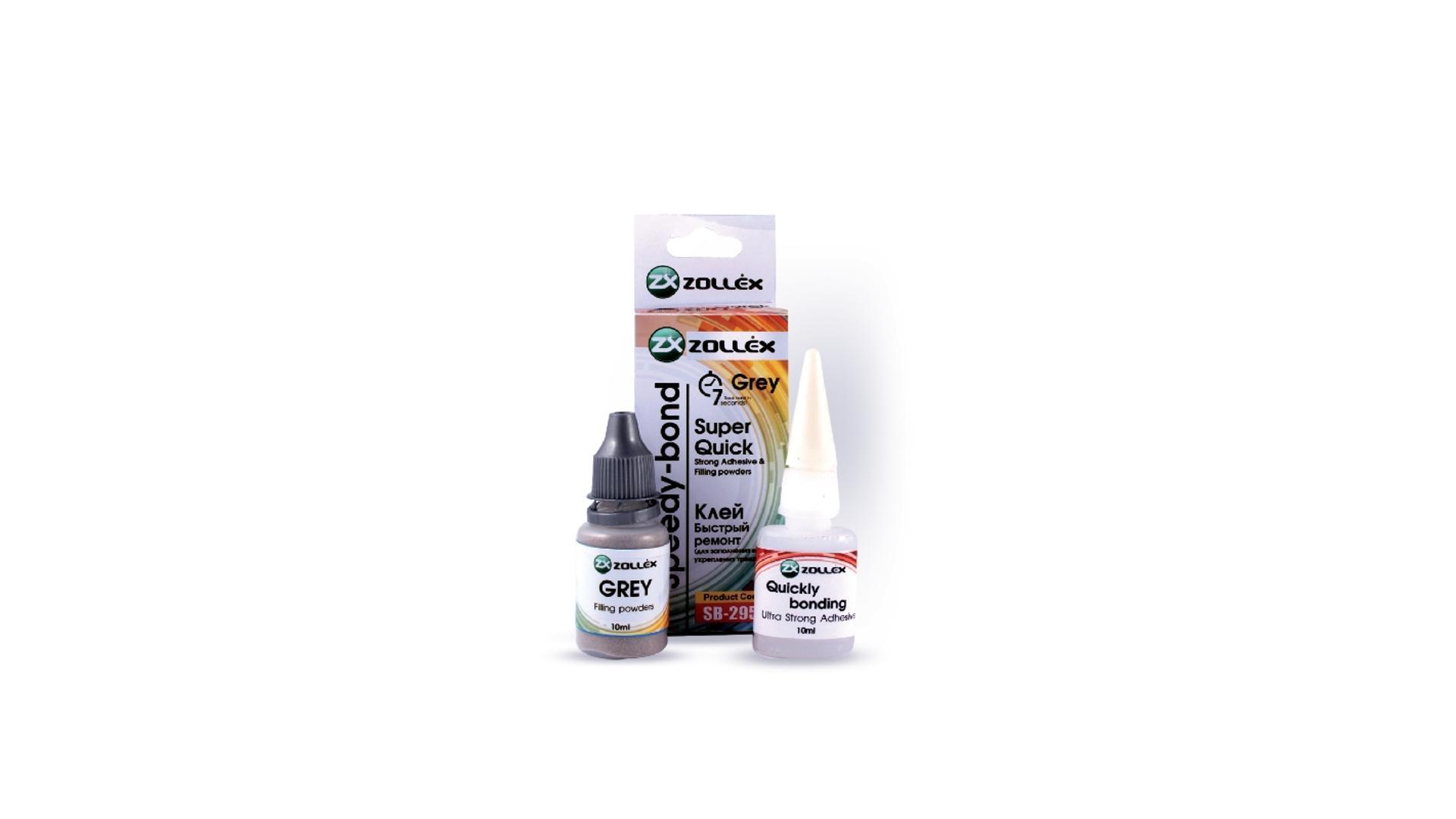 ZOLLEX Dvojzložkové živicové lepidlo - Rýchla väzba - šedá 10ml + 10ml viacúčelové (na kovové časti) (SB-295G)
